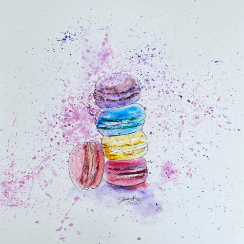 VF-055-Life-is-like-macarons-its-always-full-of-color-2020-A3-Kunstpapir-